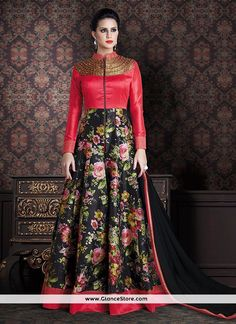 Add the feel of feminine elegance by this black and red banarasi silk anarkali salwar kameez. The ethnic patch border and print work over a attire adds a sign of elegance statement with your look. Comes with matching bottom and dupatta. (Slight variation in color, fabric & work is possible. Model images are only representative.)