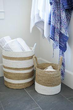 Tracey Ayton Photography - bathrooms - slate floor tile, woven, white striped basket