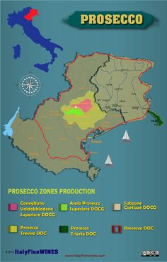 A map of all Prosecco . You can download it at www.italyfinewines.com