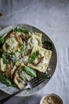 Stinging Nettle & Ricotta Ravioli with Proscuitto, Lemon Butter, & Greens.