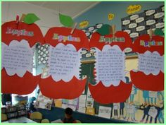 always loving visual ways to display writing. Kindergarten Art Projects, Kindergarten Writing, Teaching Writing, Kindergarten Classroom, School Projects, Fun Writing Activities, Apple Activities, Classroom Organisation, Classroom Displays