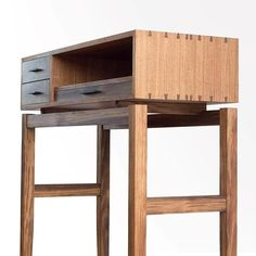 Our contemporary recreation of a telephone table / standing desk in Tasma… Betty. Our contemporary recreation of a telephone table / standing desk in Tasmanian Blackwood, European Maple & Kangaroo leather. Diy Furniture Plans, Fine Furniture, Shabby Chic Furniture, Custom Furniture, Furniture Making, Wood Furniture, Furniture Design, Studio Furniture, Maple Furniture