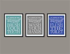 Kids bathroom art, wash your hands, brush your teeth, flush the toilet - Custom Childrens Bathroom on Etsy, £22.83