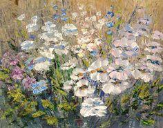 Pastel Floral painting canvas print of original texture