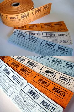 Vintage ticket roll business cards by Croxton Design