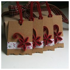 Set of 4 Christmas Gift Tags Paper Quilling Gift Tags by soarsense, $9.90