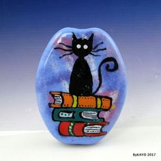 """THE CLEVER CAT"" byKAYO a Handmade BOOK LOVER Lampwork Art Glass Focal Bead SRA 