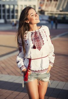 Your girlfriend is Russian or Ukrainian? Read how to build a happy family with her! Folk Fashion, Womens Fashion, Ukraine Women, Embroidered Clothes, Happy Women, Couture, Traditional Outfits, Look, My Style