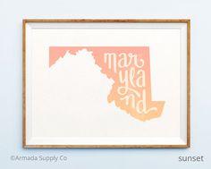 Maryland print  Maryland art  Maryland poster  by ArmadaSupplyCo