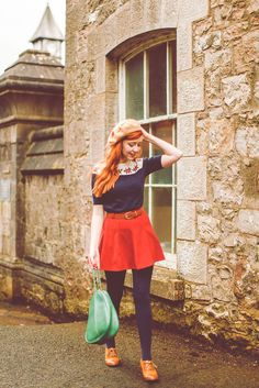 Love the retro look of the top and oxfords with the bright red skirt and navy tights. #modcloth #stylegallery