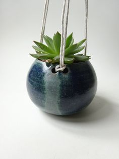 Small Hanging Planter - Hanging Vase for succulent plants -Blue Green Handmade Ceramic hanging planter by viCeramics on Etsy