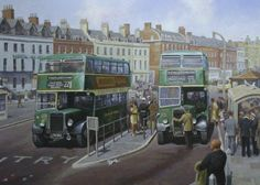 Two Bristol K's at Weymouth by Mike Jeffries - Loading at King's Statue… Road Transport, Public Transport, Transport Pictures, Bus Art, Blue Bus, Bus Coach, Busse, Abandoned Cars, Bus Station