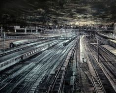 Emilio D'Ospina -  'Train Tracks', Oil on laminated MDF