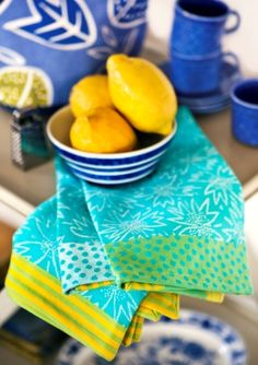 """Our """"Wild"""" tea towels made in organic cotton bring three patterns together into a wonderful oneness. Woven in a double-sided jacquard which reverses the pattern on the back. Sold in a 2-pack,"""