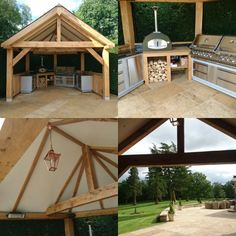 Green Oak framed outdoor kitchen,Bbq and pizza oven. www.jefferson-joinery.co.uk