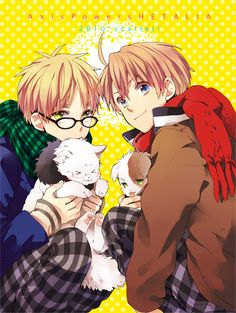 soft kitty lil kitty purpur pur in there arms - Hetalia - America / England