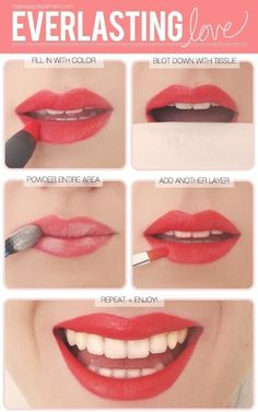 Transform any lipstick into a longwearing one. | 17 Easy Ways To Make Your Lips Look Perfect
