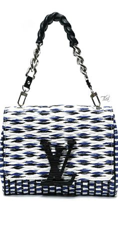 Louis Vuitton ~ Navy + White Logo Leather Flap Bag 2015