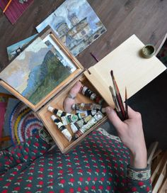 This handy little box for oil painting. painting Set in Wooden Box for artists hand. this little box you can wear on the thumb of your hand. You can paint a landscape at any time, even if you are traveling. It is very convenient who loves to draw. When the weather is cold, you will draw small pictures.  Attention! if you are left handed, write me about it in order.   Its size is 18 x 14 cm., It is the optimal size for you could hold in your hand. I create is for artists to travel and paint…