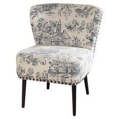 "Featuring nailhead-trimmed toile upholstery and a midcentury-inspired silhouette, this chic accent chair is a stylish addition to your den or living room seating group.  Product: ChairConstruction Material: Birch wood, engineered wood, linen and foamColor: Periwinkle and blackFeatures:  Nailhead trimNon-marking feet Note: 29.63"" H x 24.38"" W x 28.25"" D"