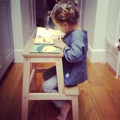 Ikea stool = child's desk!