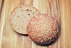 I've been known to eat many a burger bunless - most of the commercially produced buns just don't seem worth it to me (I'd rather eat desse. Sweet Recipes, Vegan Recipes, Cooking Recipes, Homemade Burger Buns, Whole Wheat Sourdough, Sourdough Recipes, Sourdough Bread, Burger Bar, Hamburger Buns