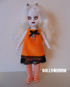 """""""TRICK 'R TREAT"""" - Hallowe'en Dress and Leotards for Living Dead dolls available on ebay and etsy by DOLLS4EMMA"""