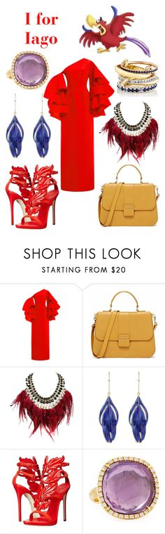 """I is for Iago"" by msmith22 ❤ liked on Polyvore featuring Rosie Assoulin, WithChic, Aurélie Bidermann, Giuseppe Zanotti, Marco Bicego, SPINELLI KILCOLLIN, disney, aladdin, disneybound and Iago"