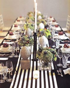 black and white stripe table runner - Google Search