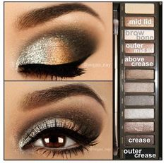 Urban Decay Naked 2 Palette, smokey eye   (well, I own this, but I am pretty sure I could never make it look like this. worth a try though....)