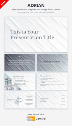 Use this free template to build a modern presentation effortlessly. The subtle white and grey colors give it a very elegant look. Whether you have to sell an architecture project, a marketing proposal, or anything else, this multi-purpose theme will do the job. Good Presentation, Presentation Templates, Marketing Proposal, Grey Colors, Best Templates, Minimal Design, How To Memorize Things, Things To Sell, Quotations