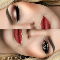 Classic red lip Fire Engine lipstick by @gerardcosmetics @toofaced Chocolate Bar Palette on eyes, @motivescosmetics LBD Liner, @houseoflashes Noir Fairy Lashes, @anastasiabeverlyhills Dipbrow in Blonde & Wiz Powder in mediumbrown