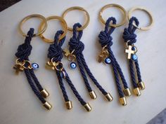 Luxury martyrika-Evil eye martyrika -Key chains Baptism Favors- Gold and blue martyrika-formal style martirika Crochet Keychain, Diy Keychain, Wine Bottle Centerpieces, Baptism Favors, Macrame Art, Evil Eye, Key Rings, Handmade Jewelry, Key Chains