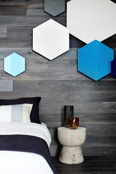 Great idea for wall lights! Really gives a pop of colour to the timber walls. Contemporary Bedroom by Christopher Elliott Design Furniture Inspiration, Interior Inspiration, Royal Oak Floors, Feature Wall Bedroom, Feature Walls, Timber Walls, Deco Design, Contemporary Bedroom, Modern Bedroom