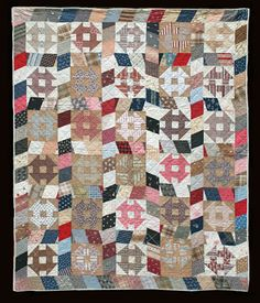 "Monkey Wrench Quilt c.1890,  68"" x 82"". really interesting sashing"