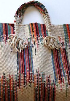 Woven Bag ~ no pattern but if I ever found fabric close to this would definitely make one! - Accessories of Women Sacs Tote Bags, Reusable Tote Bags, Diy Sac Pochette, My Bags, Purses And Bags, Ethnic Bag, Weaving Projects, Boho Bags, Fabric Bags