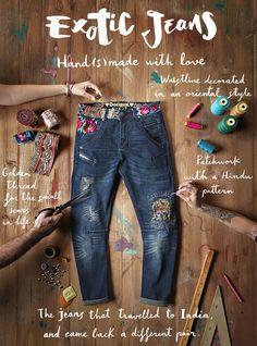 clona y customiza tus ropa vaquera como lo hace exotic jeans de desigual con estilos orientales,hindus,étnicos,patchwork,bordados,encajes,etc...