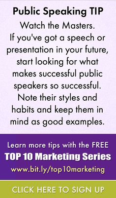 Who are the master speakers that you follow?  Signup for the FREE webinar series more tips on public speaking http://www.virtuallinda.com/events/top-10-marketing/