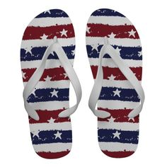 Patriotic USA Red White Blue Chevron Flip Flops from Zazzle., 4th of July flip flops