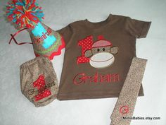 Birthday set... includes hat, shirt, diaper cover and tie... perfect for cake smashing!!!