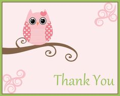 Owl Thank You Cards in Pink, Blue, or Green, Baby Shower Thank You Notes, Set of 10 Printed with Envelopes, FREE shipping. $7.50, via Etsy.