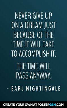 Never give up on a dream just because of hte time it will take to accomplish it. The time will pass anyway.