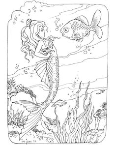 Mermaid Coloring Page for Adults Mermaid Adult coloring and