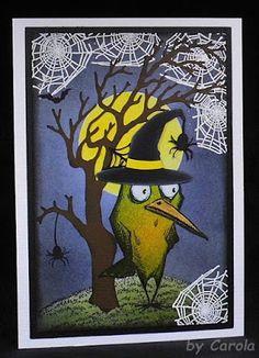 Hallo liebe Blogleser!     Auch für Halloween musste einer der Crazy Birds herhalten.       Stempel:  Crazy Bird von Tim Holtz, Spinnen...