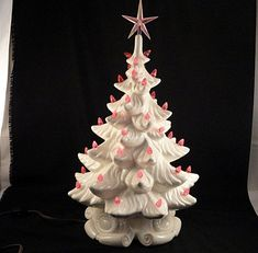 "Vintage 16"" Ceramic Atlantic Mold Lighted White Christmas Tree With from firesidetreasures on Ruby Lane.."