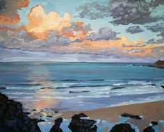 """""""Floating Gold"""" October oil painting by Steve PP Coastal painting Holidays in Devon Instructor"""