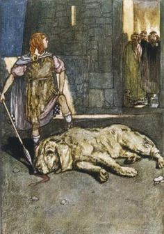 """Cú Chulainn (""""El perro de Culann"""", en irlandés) Héroe mitológico irlandés.    Hijo de un Dios y una humana, que toma ese nombre al matar a la perra del herrero, comprometiéndose a ser el custodio del mismo. Se forma como guerrero gracias a la la druidesa Skatsha, que le enseñó a usar la famosa lanza: Gae Bolg. (La leyenda continua, es más que esto)."""