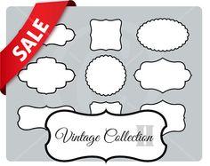 9 white vintage frames with border - vintage labels - vintage style set - instant download