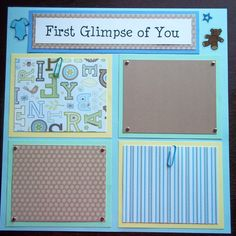 boy scrapbook layouts | Set of 30 12x12 Premade Scrapbook Pages Baby Boy's 1st 12 months made ... For ultrasound or petri