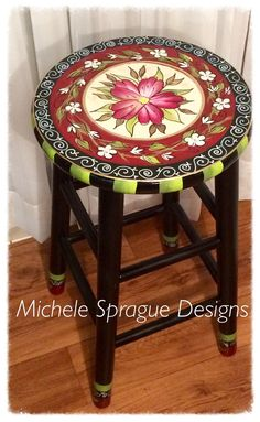 Whimsical painted furniture, Painted bar stool, 24 or 29 hand painted custom round top wooden bar stool // counter stool - chair Painted Bar Stools, Diy Bar Stools, Hand Painted Chairs, Whimsical Painted Furniture, Wooden Bar Stools, Hand Painted Furniture, Paint Furniture, Plywood Furniture, Furniture Design